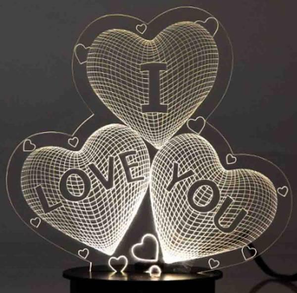 چراغ خواب بالبینگ 3 بعدی LED سه قلب