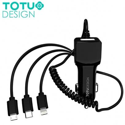 شارژر فندکی توتو TOTU CCL01 Sharp Series با کابل سه کاره